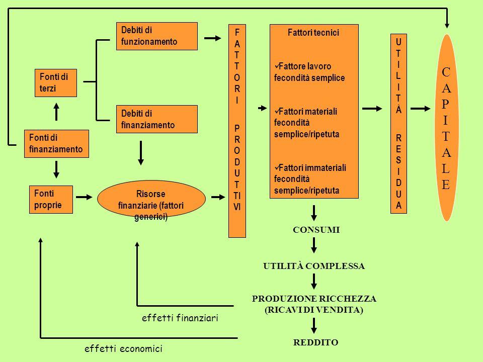 Risorse finanziarie (fattori generici) F A T T O R I P R O D U T TI VI Debiti di funzionamento Debiti di finanziamento Fattori tecnici Fattore lavoro