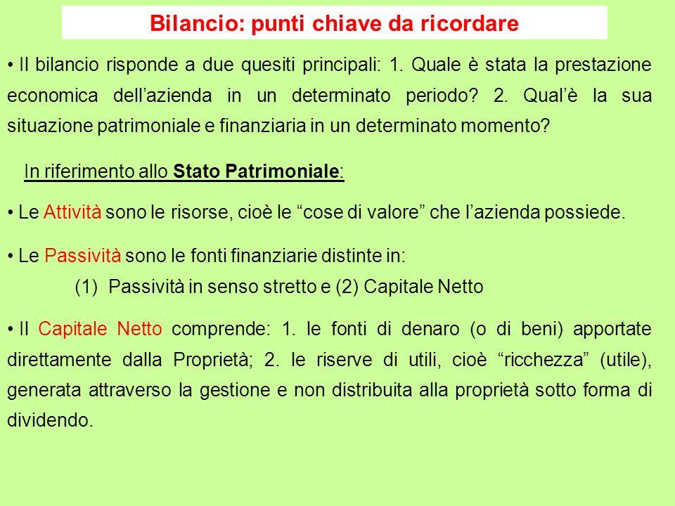 Bilancio: punti chiave da ricordare Il Capitale Netto comprende: 1. le fonti di denaro (o di beni) apportate direttamente dalla Proprietà; 2. le riser