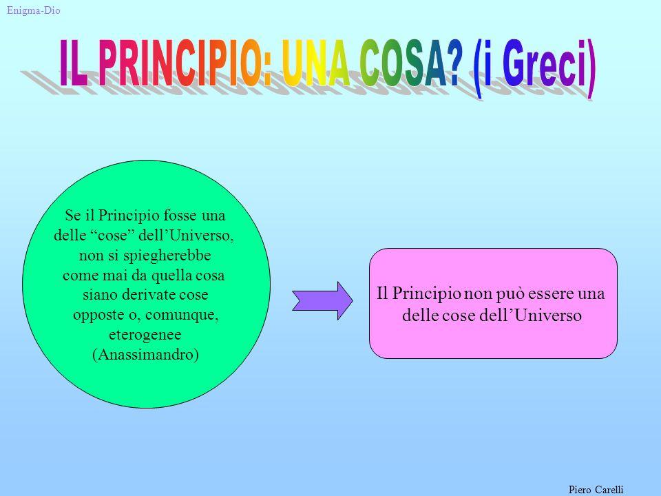 Il Principio non può essere una delle cose dellUniverso Se il Principio fosse una delle cose dellUniverso, non si spiegherebbe come mai da quella cosa siano derivate cose opposte o, comunque, eterogenee (Anassimandro) Enigma-Dio Piero Carelli