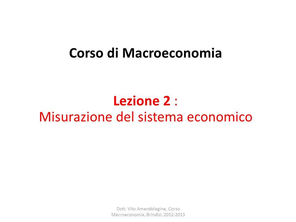 Corso di Macroeconomia Lezione 2 : Misurazione del sistema economico Dott. Vito Amendolagine, Corso Macroeconomia, Brindisi, 2012-2013