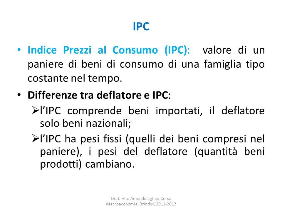 IPC Indice Prezzi al Consumo (IPC): valore di un paniere di beni di consumo di una famiglia tipo costante nel tempo. Differenze tra deflatore e IPC: l