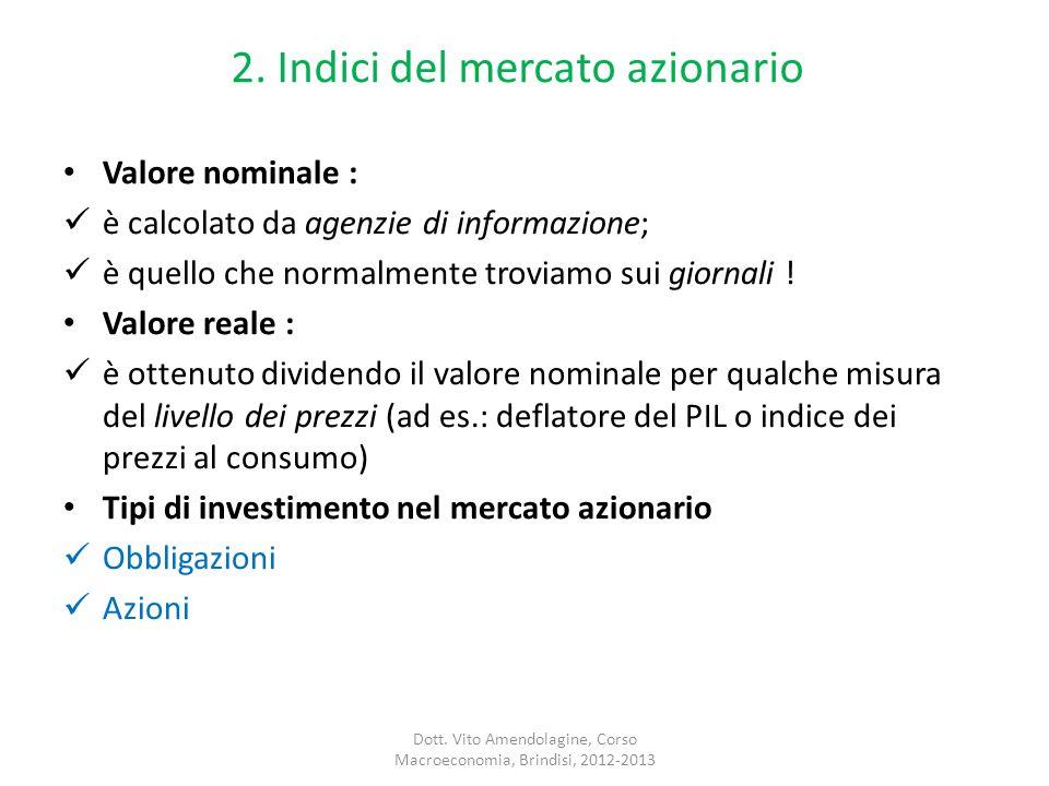 2. Indici del mercato azionario Valore nominale : è calcolato da agenzie di informazione; è quello che normalmente troviamo sui giornali ! Valore real