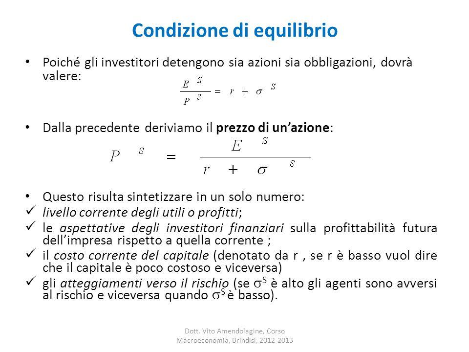 Condizione di equilibrio Dott. Vito Amendolagine, Corso Macroeconomia, Brindisi, 2012-2013 Poiché gli investitori detengono sia azioni sia obbligazion