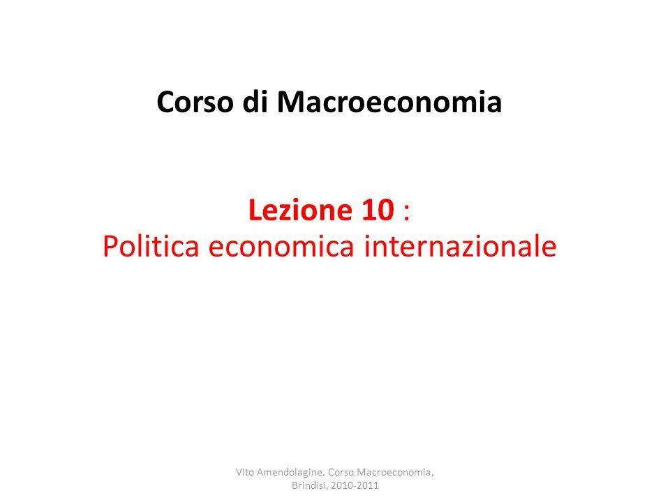 Corso di Macroeconomia Lezione 10 : Politica economica internazionale Vito Amendolagine, Corso Macroeconomia, Brindisi, 2010-2011
