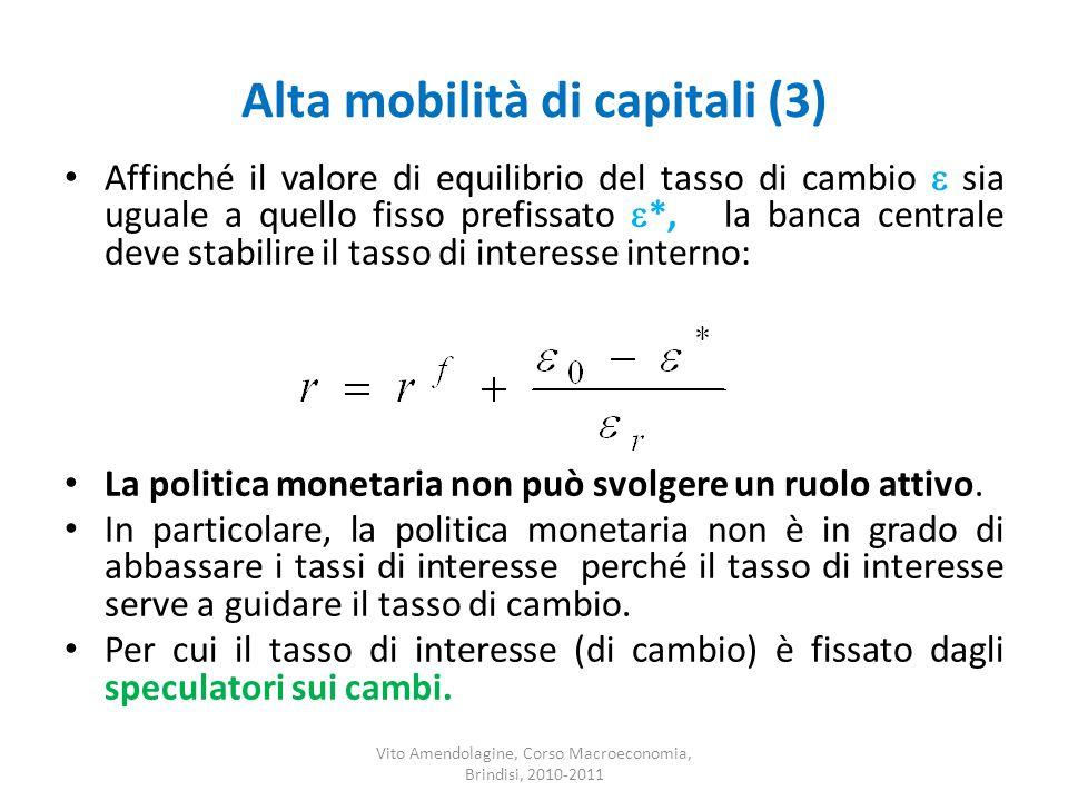 Alta mobilità di capitali (3) Affinché il valore di equilibrio del tasso di cambio sia uguale a quello fisso prefissato *, la banca centrale deve stab