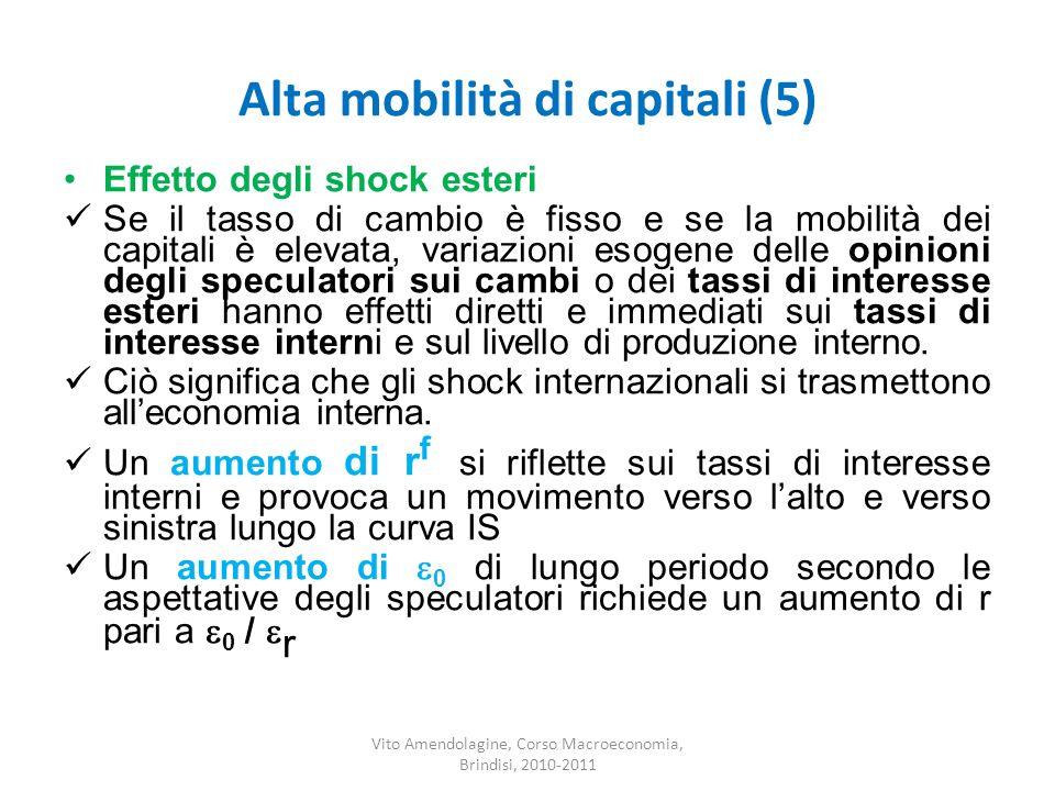 Alta mobilità di capitali (5) Vito Amendolagine, Corso Macroeconomia, Brindisi, 2010-2011 Effetto degli shock esteri Se il tasso di cambio è fisso e s