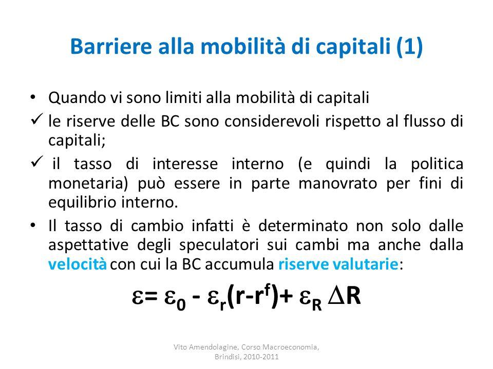 Barriere alla mobilità di capitali (1) Quando vi sono limiti alla mobilità di capitali le riserve delle BC sono considerevoli rispetto al flusso di ca