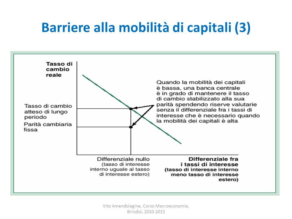 Barriere alla mobilità di capitali (3) Vito Amendolagine, Corso Macroeconomia, Brindisi, 2010-2011