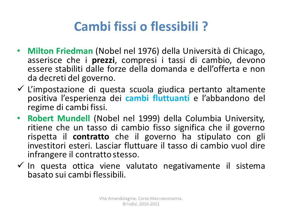 Cambi fissi o flessibili ? Milton Friedman (Nobel nel 1976) della Università di Chicago, asserisce che i prezzi, compresi i tassi di cambio, devono es