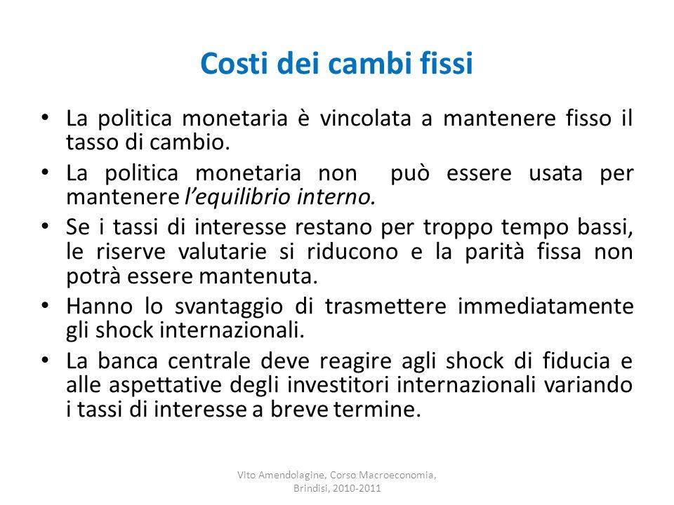 Costi dei cambi fissi La politica monetaria è vincolata a mantenere fisso il tasso di cambio. La politica monetaria non può essere usata per mantenere