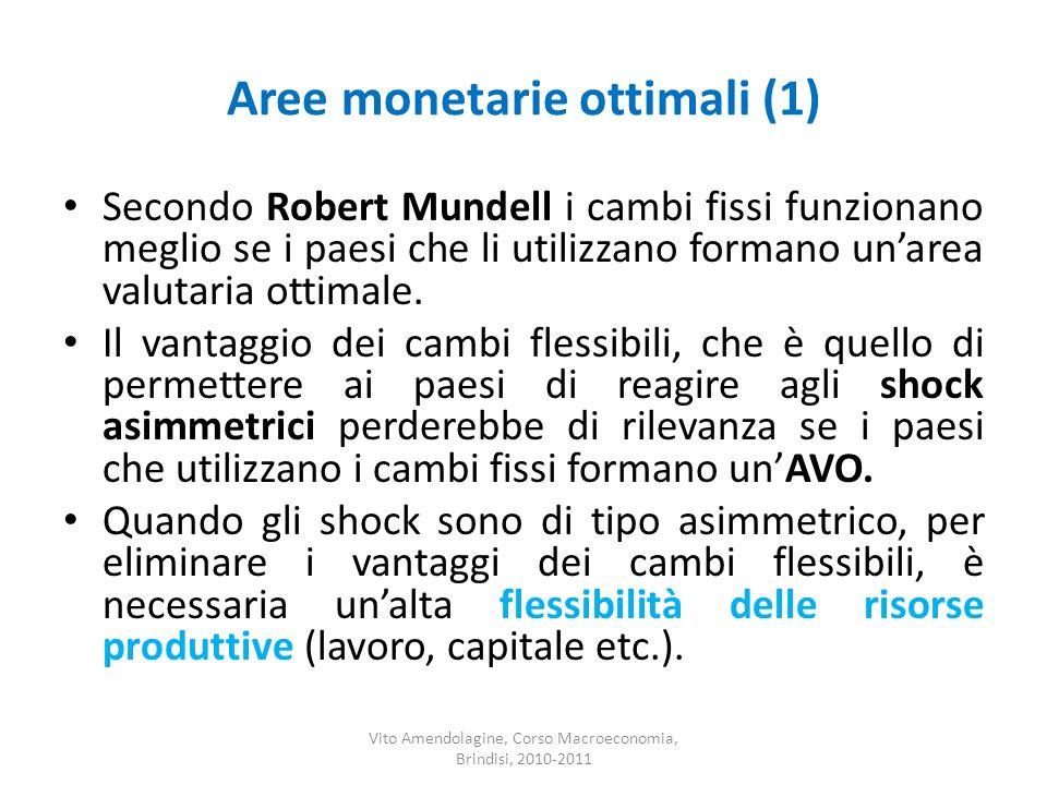 Aree monetarie ottimali (1) Secondo Robert Mundell i cambi fissi funzionano meglio se i paesi che li utilizzano formano unarea valutaria ottimale. Il