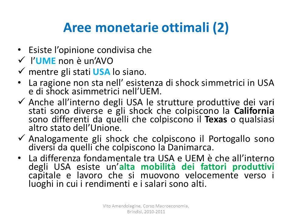 Aree monetarie ottimali (2) Esiste lopinione condivisa che lUME non è unAVO mentre gli stati USA lo siano. La ragione non sta nell esistenza di shock