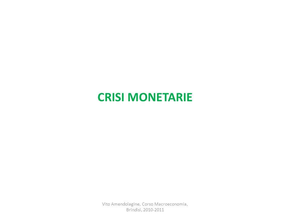 CRISI MONETARIE Vito Amendolagine, Corso Macroeconomia, Brindisi, 2010-2011