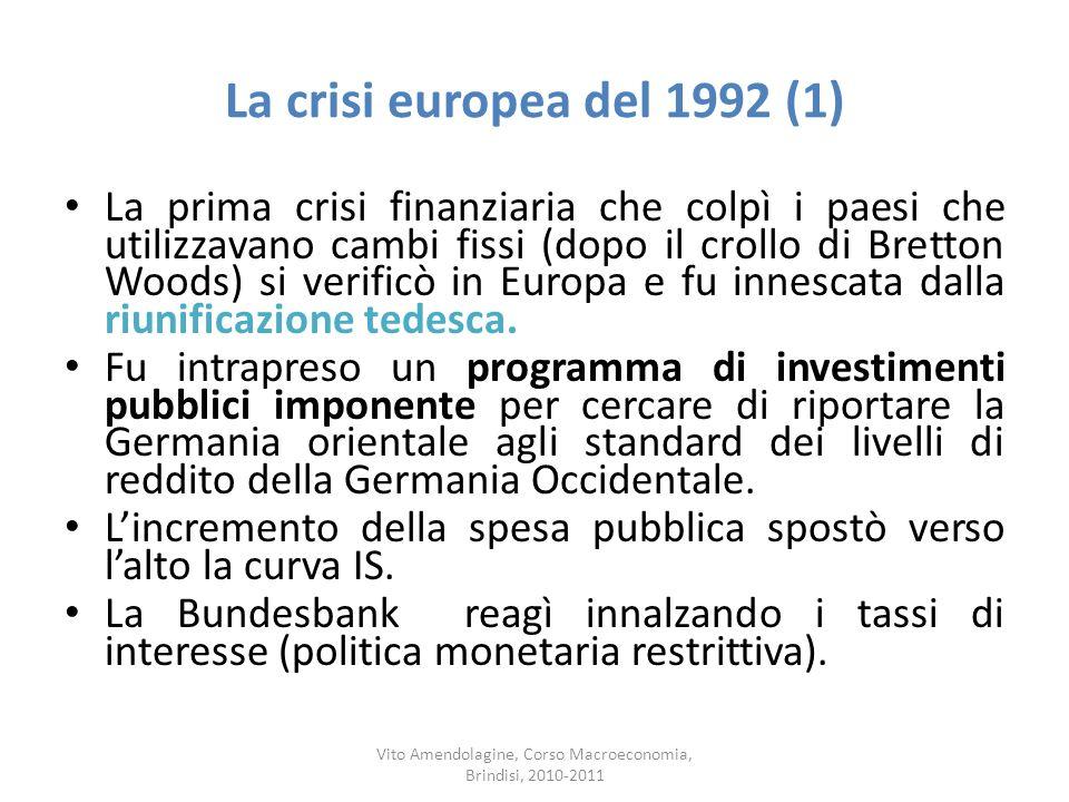 La crisi europea del 1992 (1) La prima crisi finanziaria che colpì i paesi che utilizzavano cambi fissi (dopo il crollo di Bretton Woods) si verificò