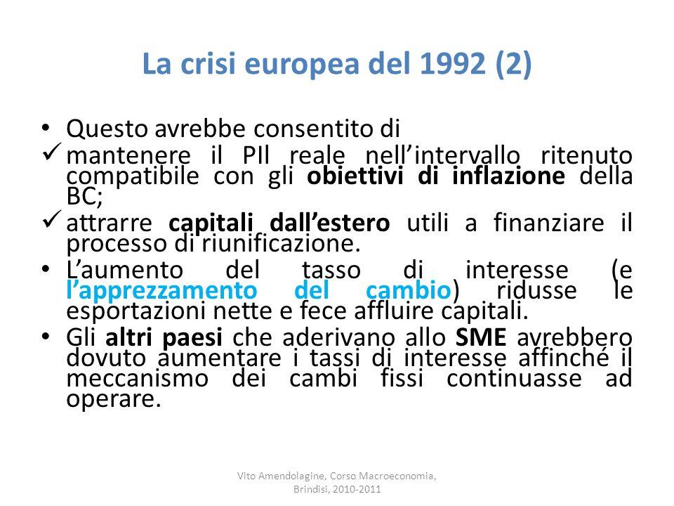 La crisi europea del 1992 (2) Questo avrebbe consentito di mantenere il PIl reale nellintervallo ritenuto compatibile con gli obiettivi di inflazione