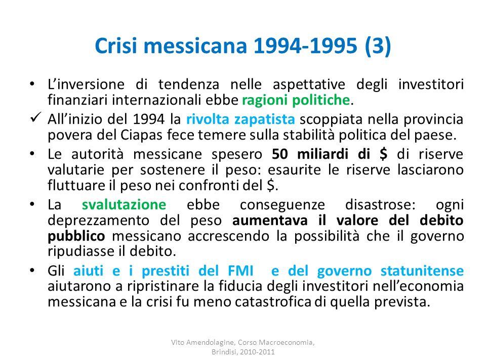 Crisi messicana 1994-1995 (3) Linversione di tendenza nelle aspettative degli investitori finanziari internazionali ebbe ragioni politiche. Allinizio