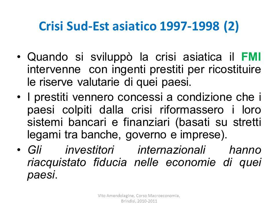 Crisi Sud-Est asiatico 1997-1998 (2) Quando si sviluppò la crisi asiatica il FMI intervenne con ingenti prestiti per ricostituire le riserve valutarie