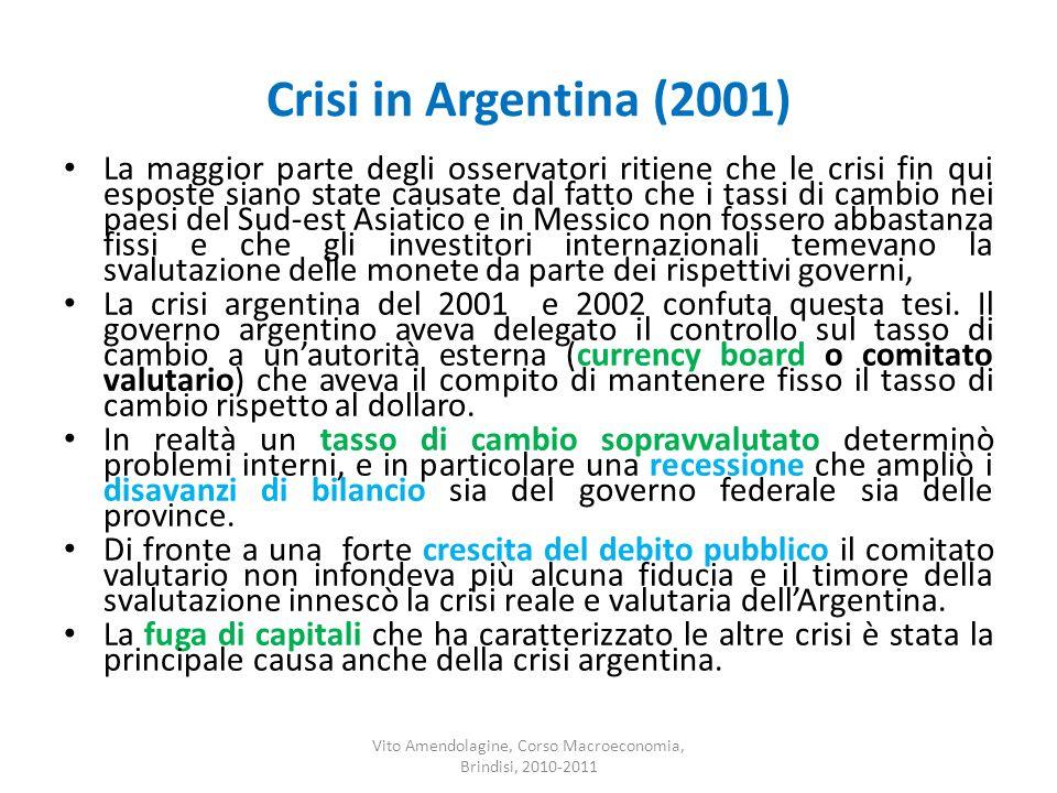 Crisi in Argentina (2001) La maggior parte degli osservatori ritiene che le crisi fin qui esposte siano state causate dal fatto che i tassi di cambio