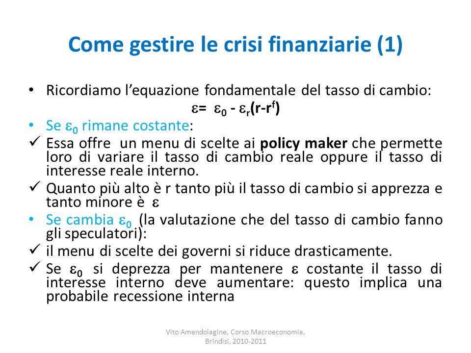 Come gestire le crisi finanziarie (1) Ricordiamo lequazione fondamentale del tasso di cambio: = 0 - r (r-r f ) Se 0 rimane costante: Essa offre un men