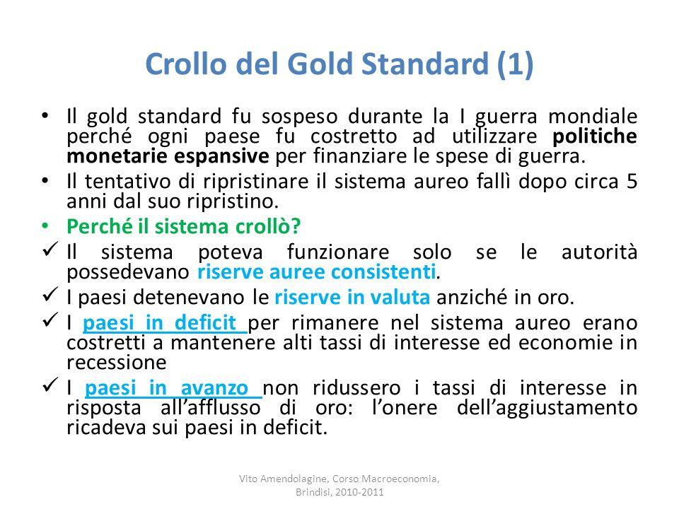 Crollo del Gold Standard (1) Il gold standard fu sospeso durante la I guerra mondiale perché ogni paese fu costretto ad utilizzare politiche monetarie