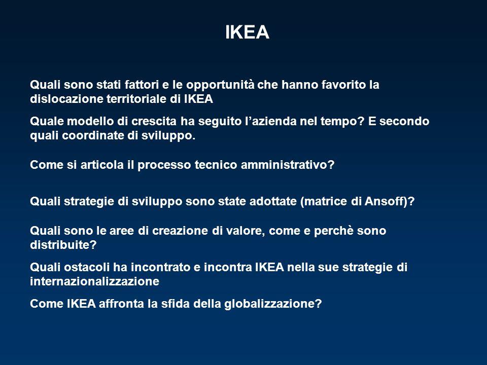 IKEA Quali sono stati fattori e le opportunità che hanno favorito la dislocazione territoriale di IKEA Quale modello di crescita ha seguito lazienda nel tempo.