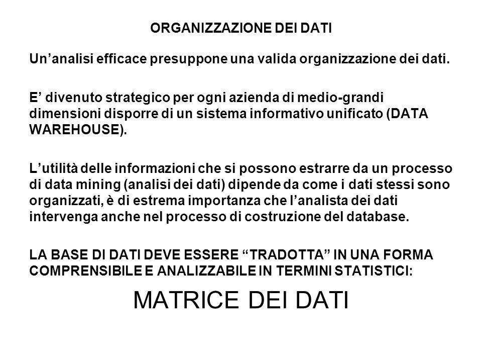 ORGANIZZAZIONE DEI DATI Unanalisi efficace presuppone una valida organizzazione dei dati. E divenuto strategico per ogni azienda di medio-grandi dimen