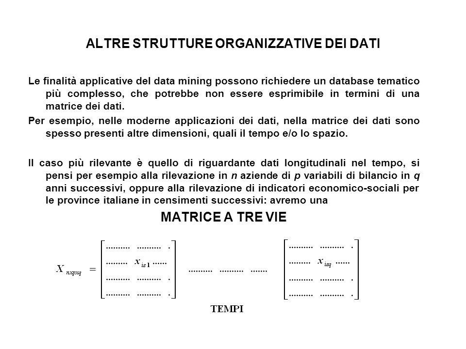 ALTRE STRUTTURE ORGANIZZATIVE DEI DATI Le finalità applicative del data mining possono richiedere un database tematico più complesso, che potrebbe non