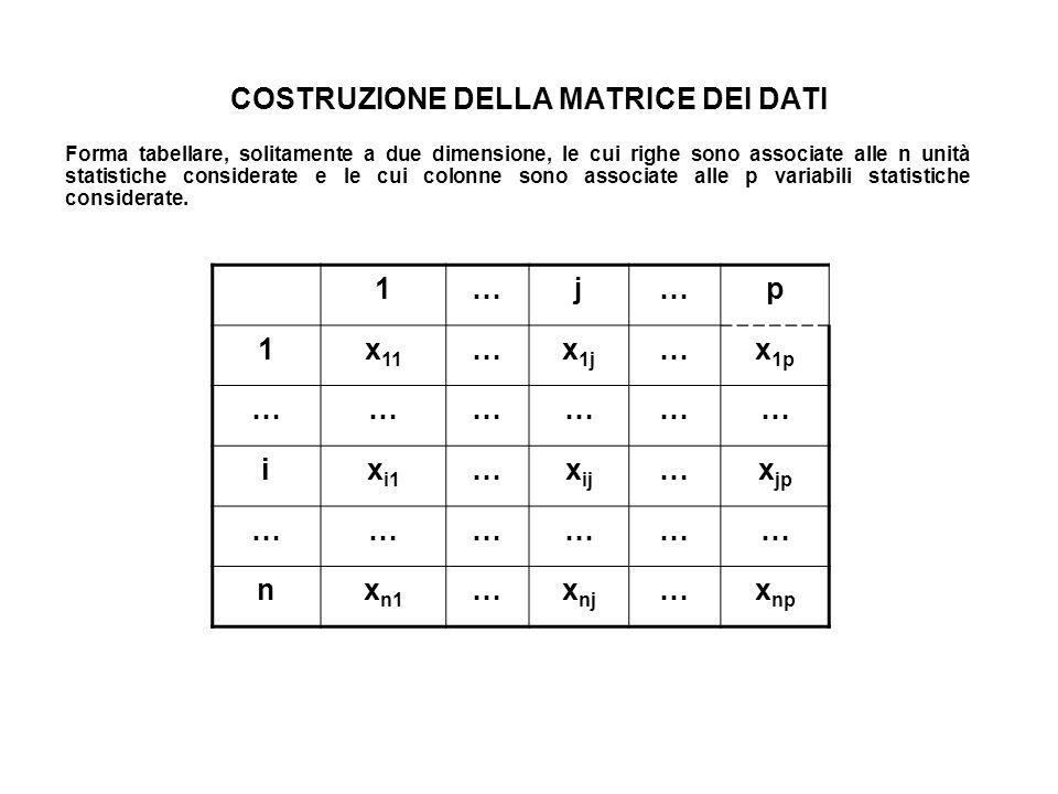 COSTRUZIONE DELLA MATRICE DEI DATI Forma tabellare, solitamente a due dimensione, le cui righe sono associate alle n unità statistiche considerate e l