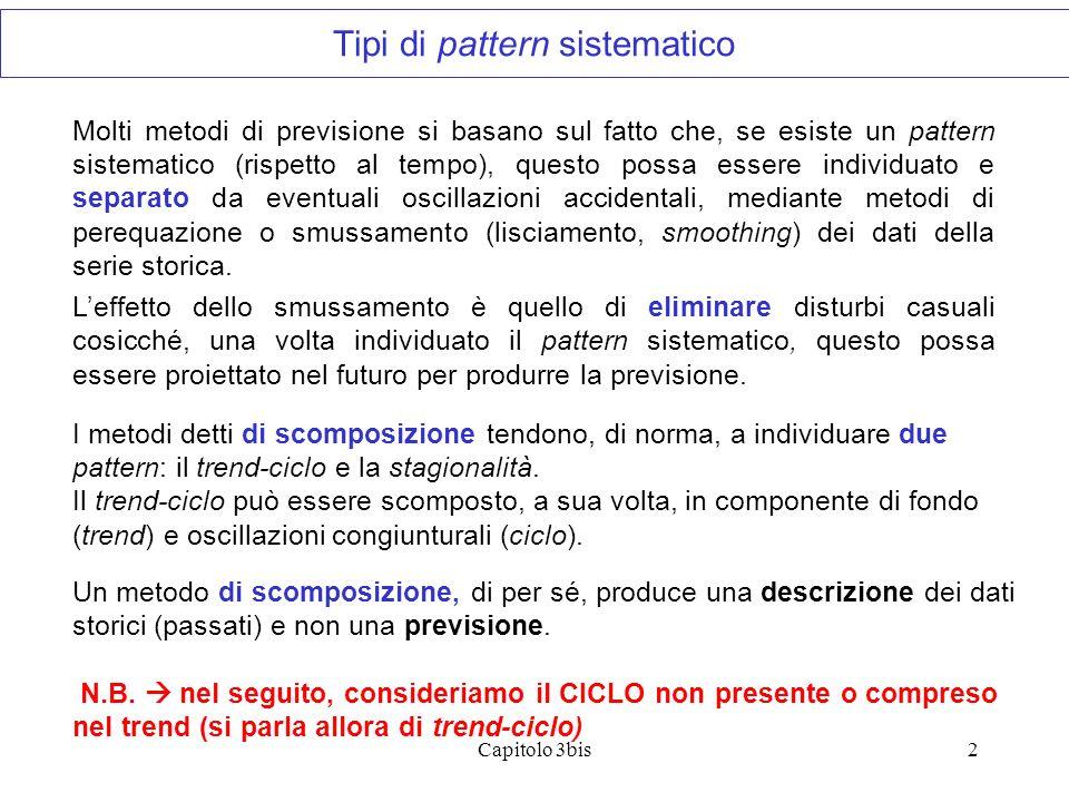 Capitolo 3bis2 Molti metodi di previsione si basano sul fatto che, se esiste un pattern sistematico (rispetto al tempo), questo possa essere individua