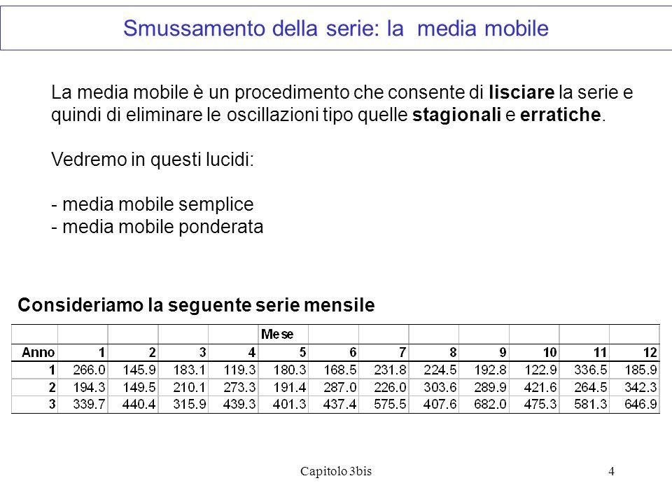 Capitolo 3bis4 La media mobile è un procedimento che consente di lisciare la serie e quindi di eliminare le oscillazioni tipo quelle stagionali e erra