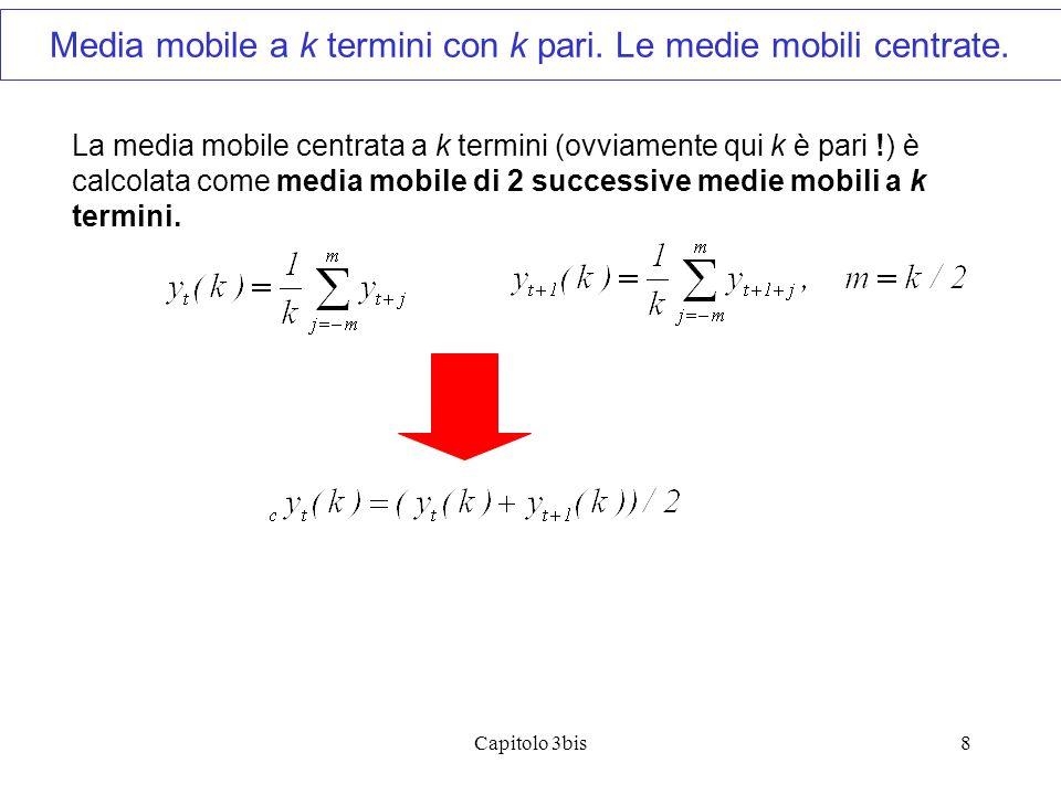 Capitolo 3bis8 La media mobile centrata a k termini (ovviamente qui k è pari !) è calcolata come media mobile di 2 successive medie mobili a k termini