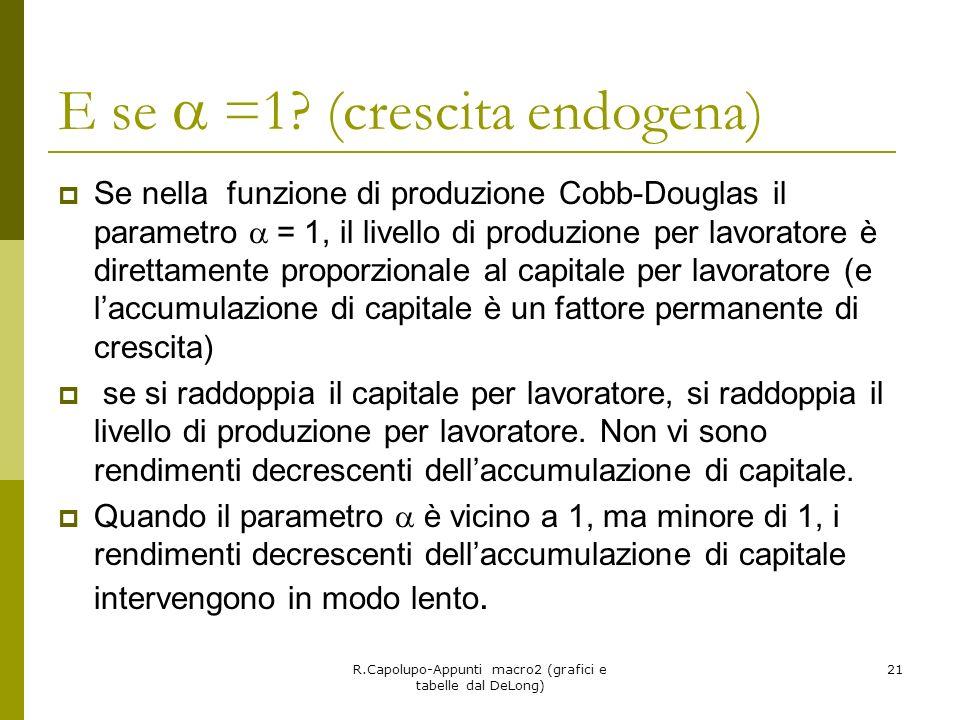 R.Capolupo-Appunti macro2 (grafici e tabelle dal DeLong) 21 E se =1? (crescita endogena) Se nella funzione di produzione Cobb-Douglas il parametro = 1