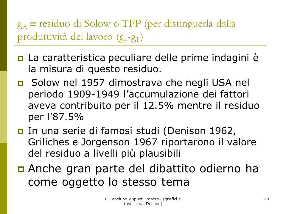 R.Capolupo-Appunti macro2 (grafici e tabelle dal DeLong) 48 g A residuo di Solow o TFP (per distinguerla dalla produttività del lavoro (g y -g L ) La