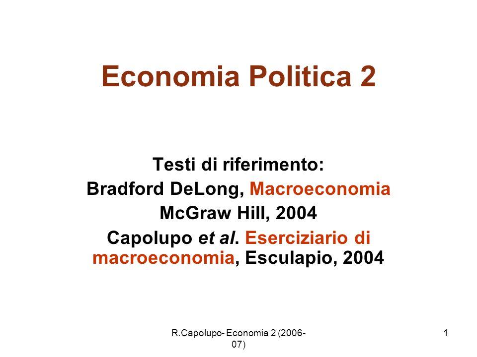 R.Capolupo- Economia 2 (2006- 07) 1 Economia Politica 2 Testi di riferimento: Bradford DeLong, Macroeconomia McGraw Hill, 2004 Capolupo et al. Eserciz