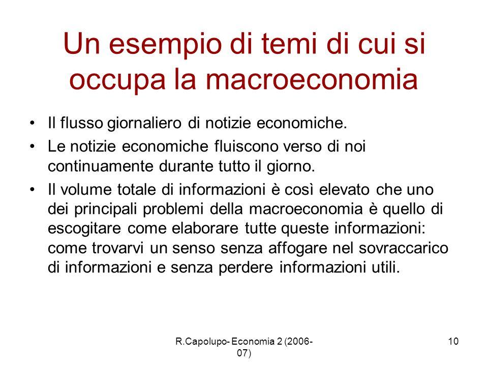 R.Capolupo- Economia 2 (2006- 07) 10 Un esempio di temi di cui si occupa la macroeconomia Il flusso giornaliero di notizie economiche. Le notizie econ