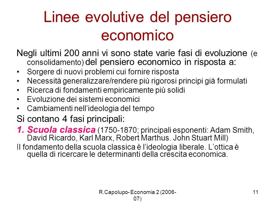R.Capolupo- Economia 2 (2006- 07) 11 Linee evolutive del pensiero economico Negli ultimi 200 anni vi sono state varie fasi di evoluzione (e consolidam