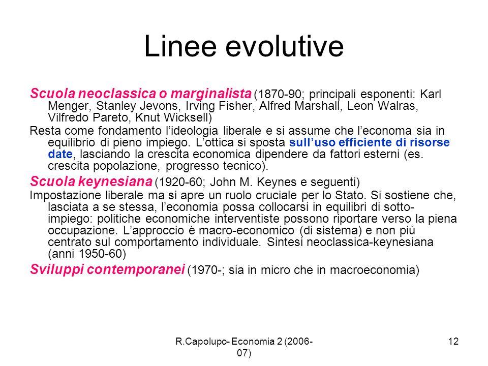 R.Capolupo- Economia 2 (2006- 07) 12 Linee evolutive Scuola neoclassica o marginalista (1870-90; principali esponenti: Karl Menger, Stanley Jevons, Ir