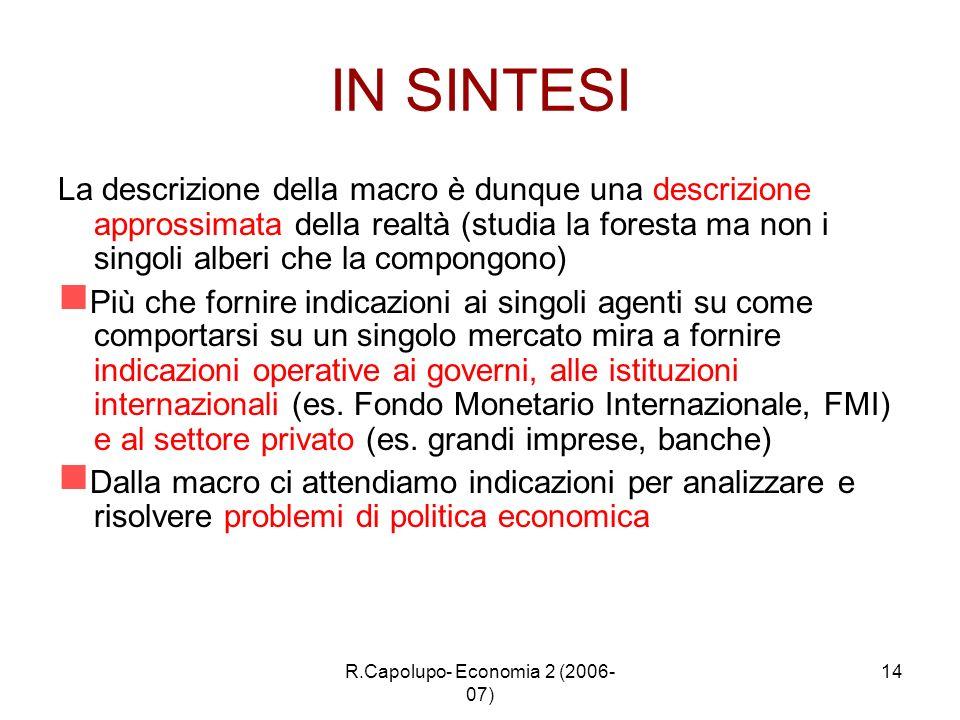 R.Capolupo- Economia 2 (2006- 07) 14 IN SINTESI La descrizione della macro è dunque una descrizione approssimata della realtà (studia la foresta ma no