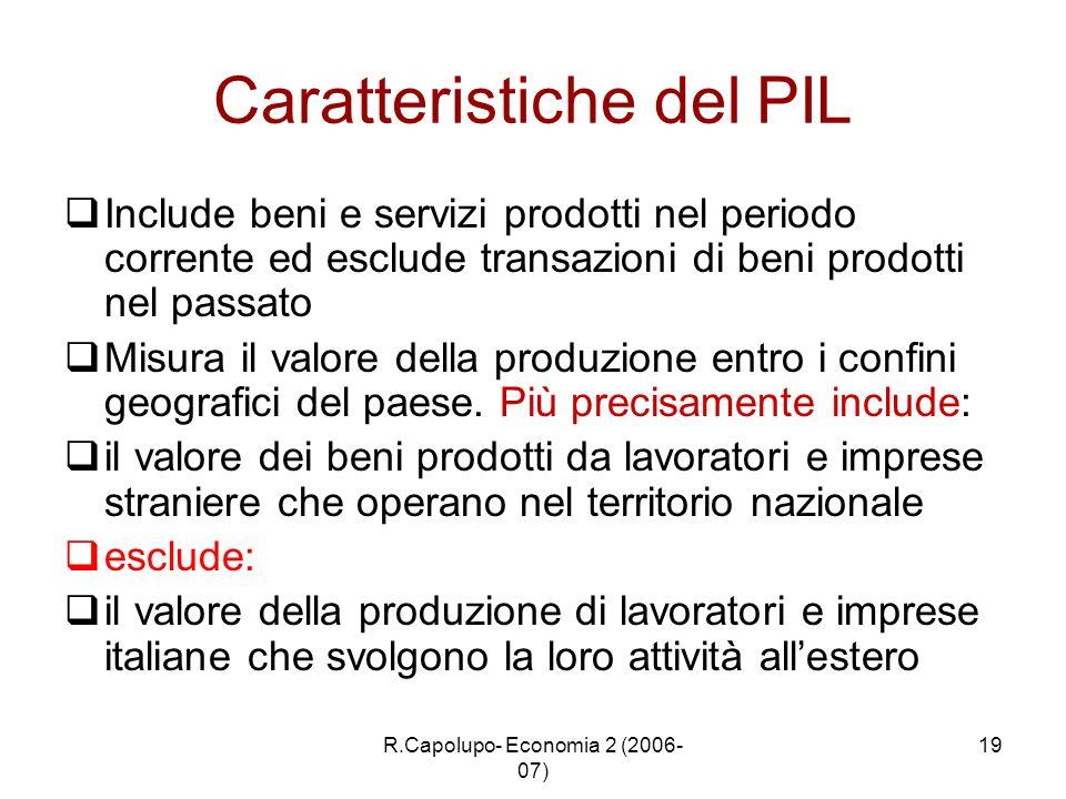 R.Capolupo- Economia 2 (2006- 07) 19 Caratteristiche del PIL Include beni e servizi prodotti nel periodo corrente ed esclude transazioni di beni prodo