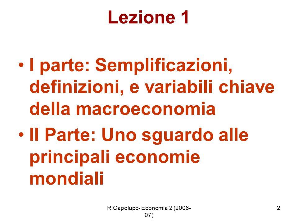 R.Capolupo- Economia 2 (2006- 07) 2 Lezione 1 I parte: Semplificazioni, definizioni, e variabili chiave della macroeconomia II Parte: Uno sguardo alle