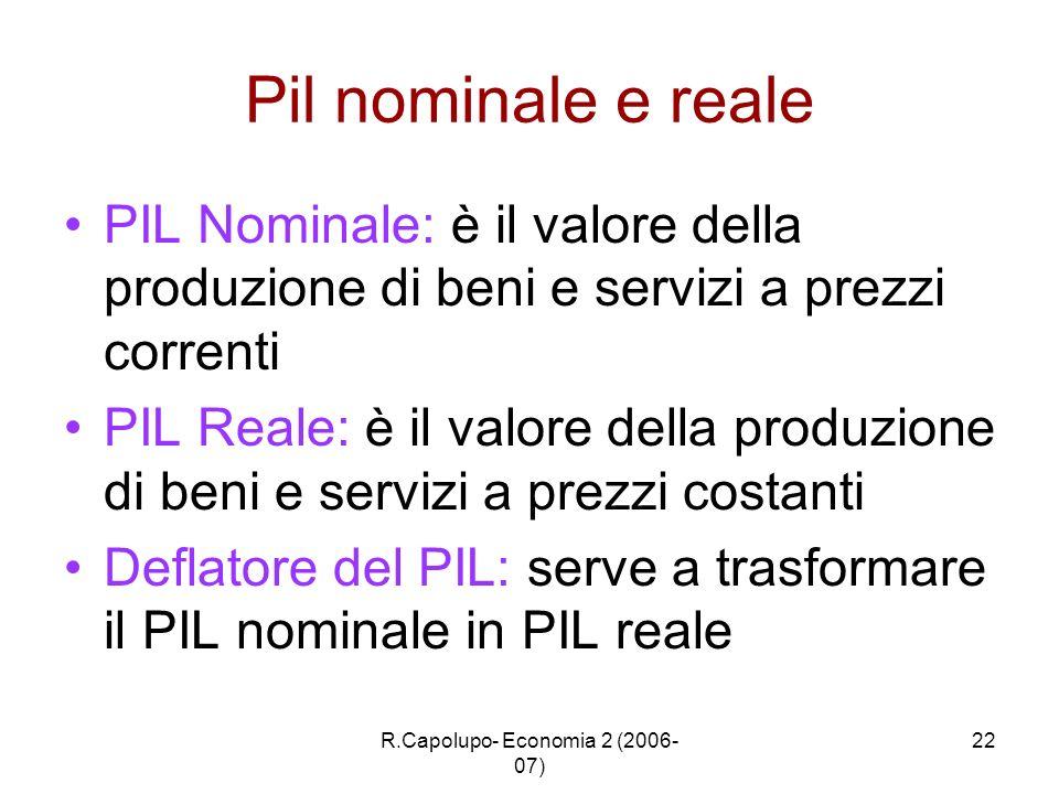 R.Capolupo- Economia 2 (2006- 07) 22 Pil nominale e reale PIL Nominale: è il valore della produzione di beni e servizi a prezzi correnti PIL Reale: è