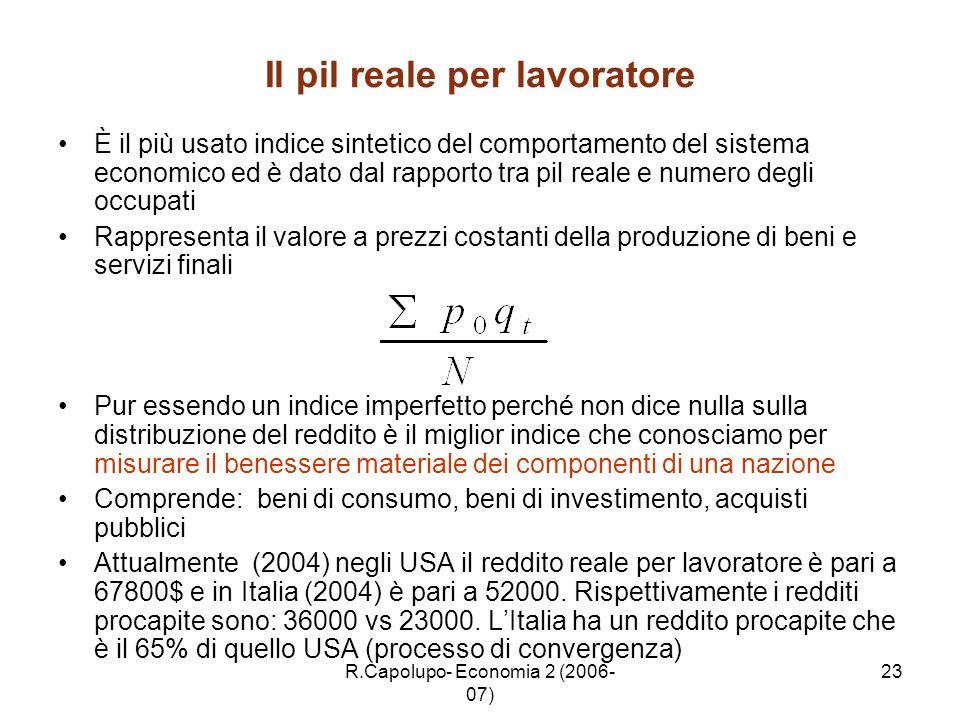 R.Capolupo- Economia 2 (2006- 07) 23 Il pil reale per lavoratore È il più usato indice sintetico del comportamento del sistema economico ed è dato dal