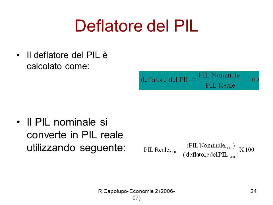 R.Capolupo- Economia 2 (2006- 07) 24 Deflatore del PIL Il deflatore del PIL è calcolato come: Il PIL nominale si converte in PIL reale utilizzando seg