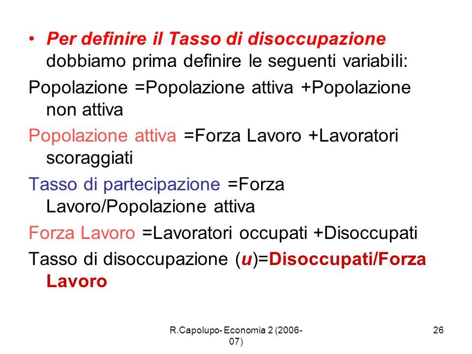 R.Capolupo- Economia 2 (2006- 07) 26 Per definire il Tasso di disoccupazione dobbiamo prima definire le seguenti variabili: Popolazione =Popolazione a