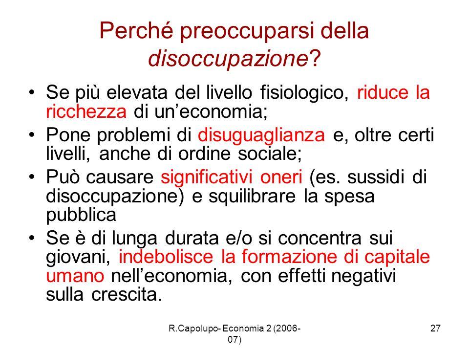 R.Capolupo- Economia 2 (2006- 07) 27 Perché preoccuparsi della disoccupazione? Se più elevata del livello fisiologico, riduce la ricchezza di uneconom