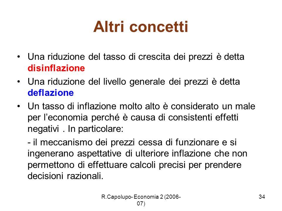 R.Capolupo- Economia 2 (2006- 07) 34 Altri concetti Una riduzione del tasso di crescita dei prezzi è detta disinflazione Una riduzione del livello gen