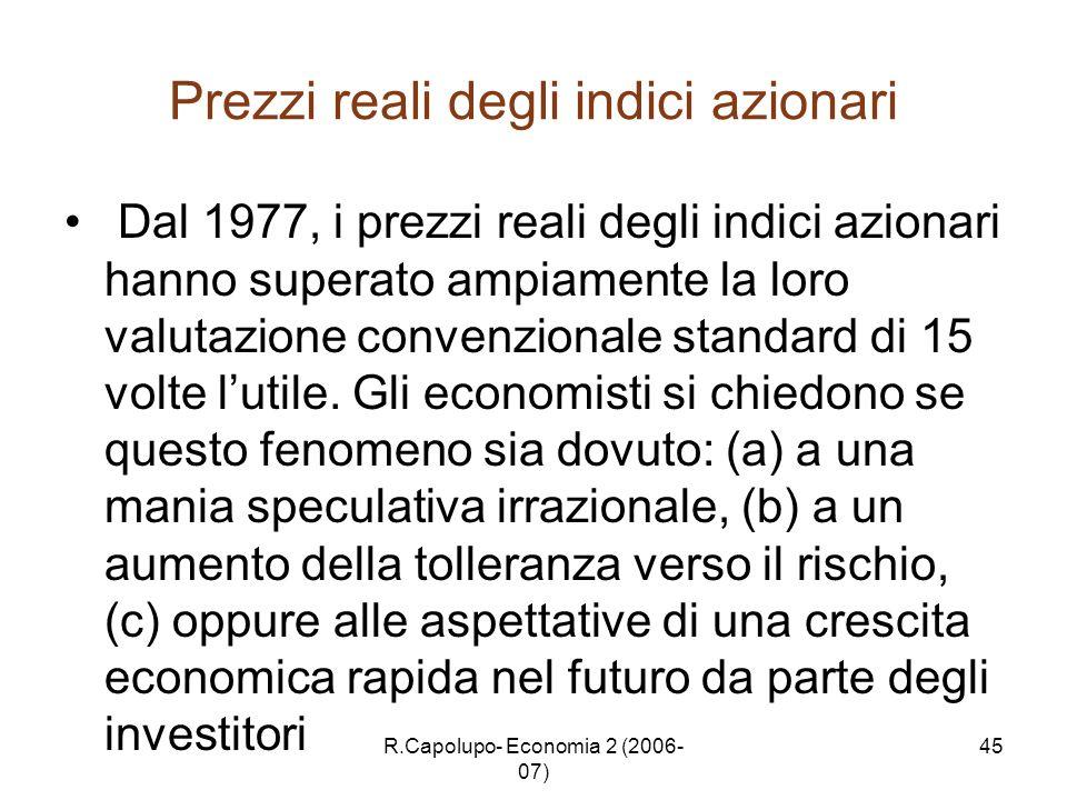 R.Capolupo- Economia 2 (2006- 07) 45 Prezzi reali degli indici azionari Dal 1977, i prezzi reali degli indici azionari hanno superato ampiamente la lo