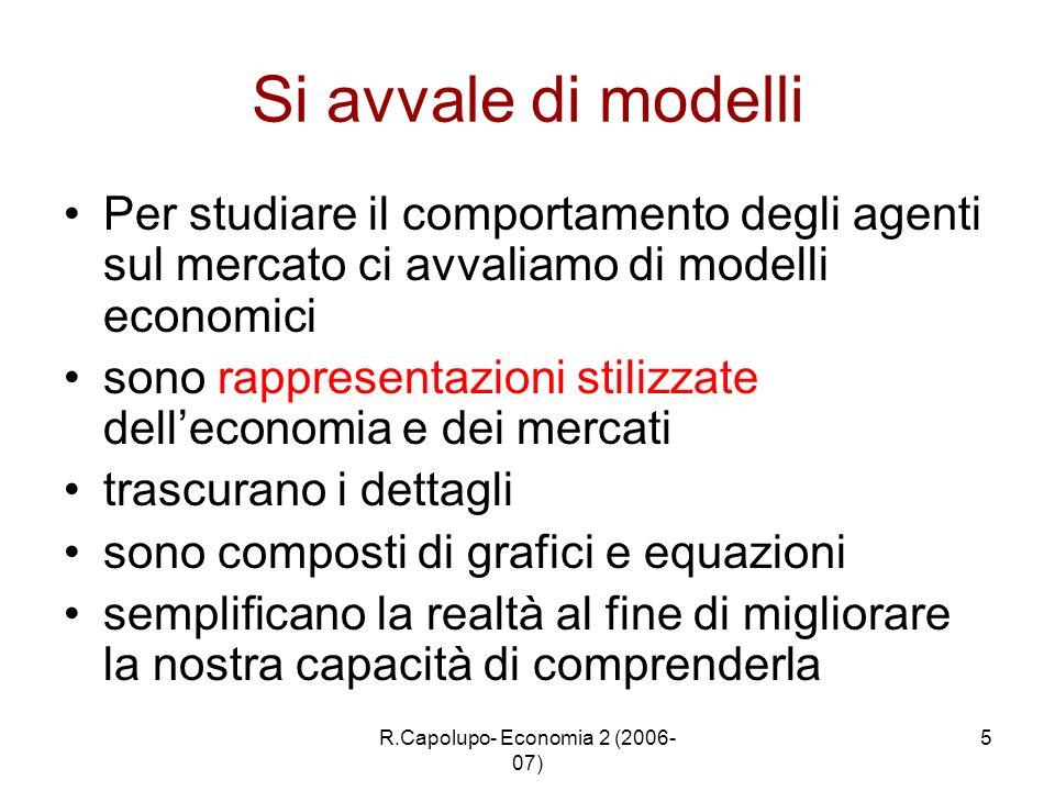 R.Capolupo- Economia 2 (2006- 07) 5 Si avvale di modelli Per studiare il comportamento degli agenti sul mercato ci avvaliamo di modelli economici sono
