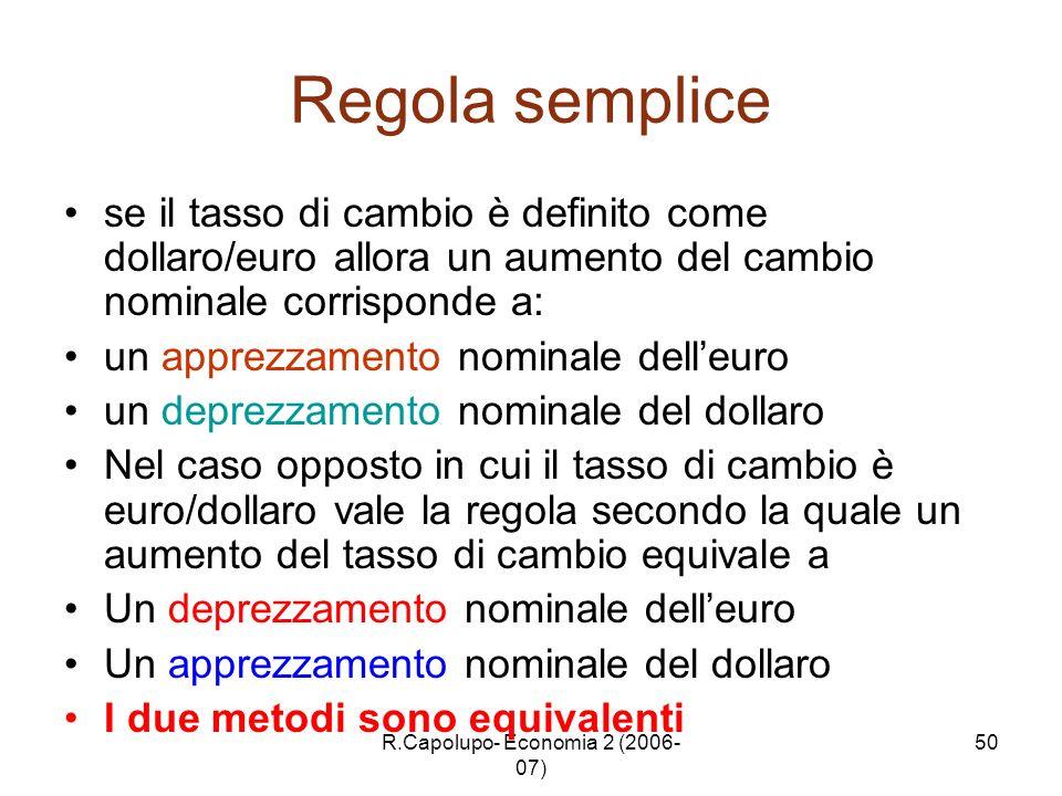 R.Capolupo- Economia 2 (2006- 07) 50 Regola semplice se il tasso di cambio è definito come dollaro/euro allora un aumento del cambio nominale corrispo