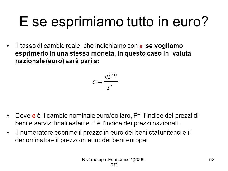R.Capolupo- Economia 2 (2006- 07) 52 E se esprimiamo tutto in euro? Il tasso di cambio reale, che indichiamo con se vogliamo esprimerlo in una stessa